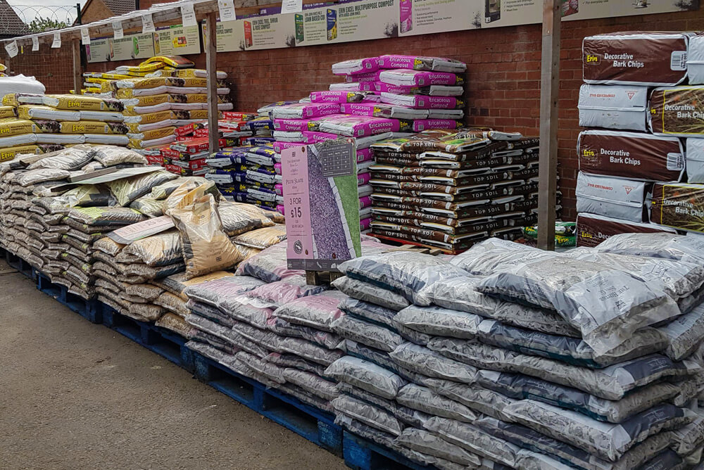 Bags of gravel and decorative aggregates