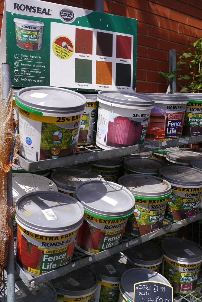 Tins of Ronseal paint